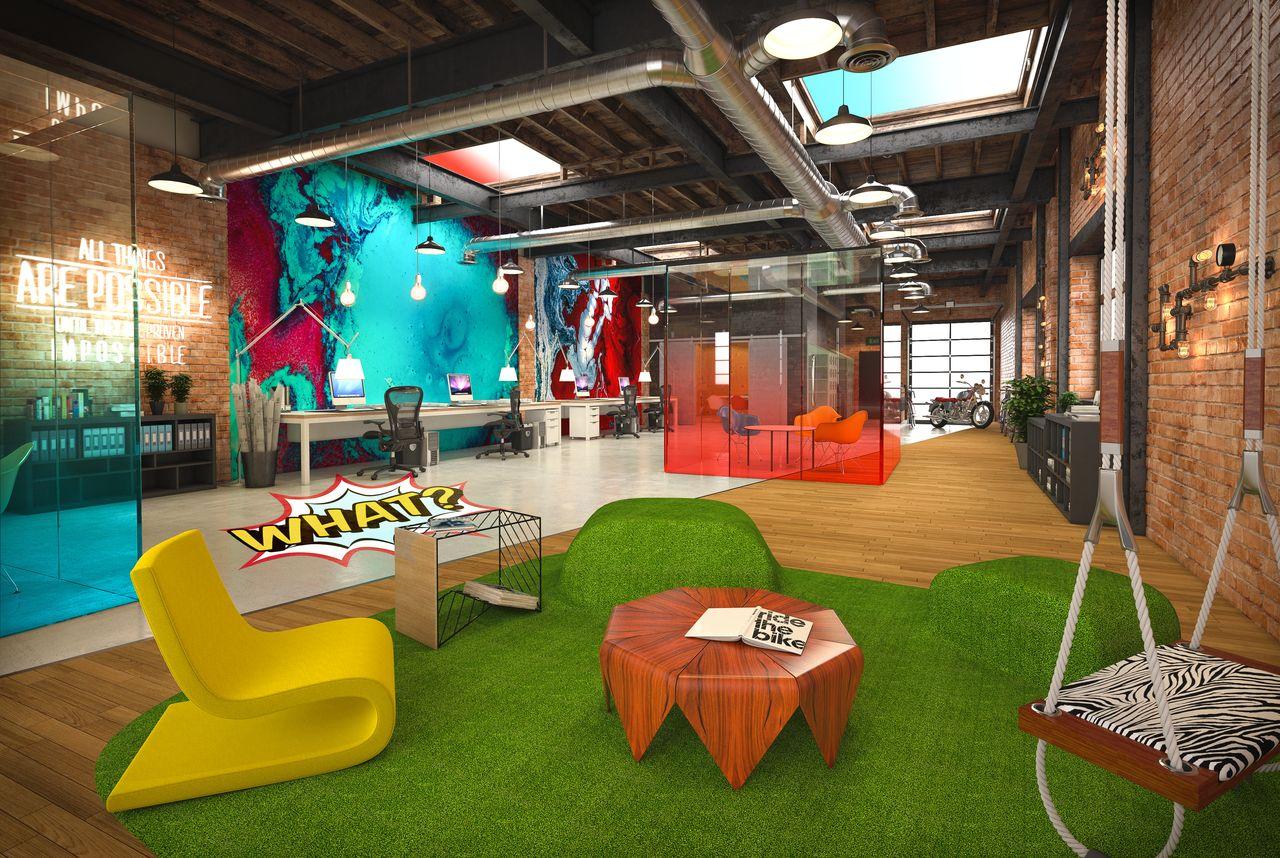 open space avec un tapis en gazon et des fauteuil originaux
