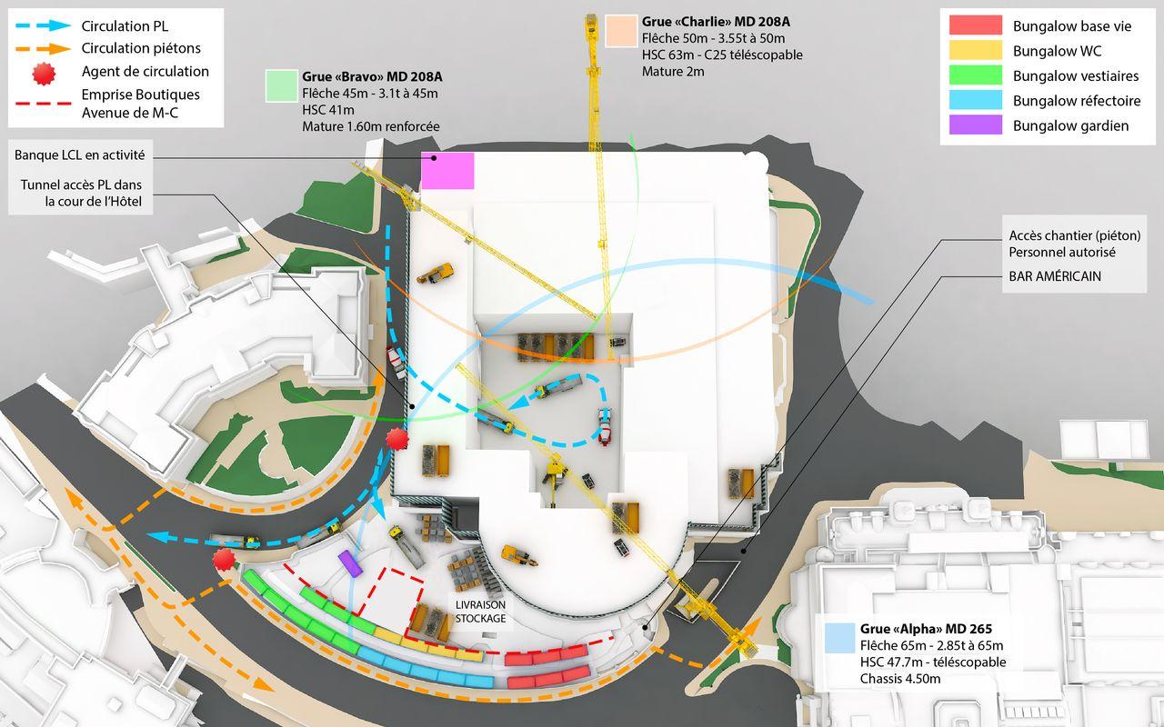 Plan 3D d'une installation de chantier