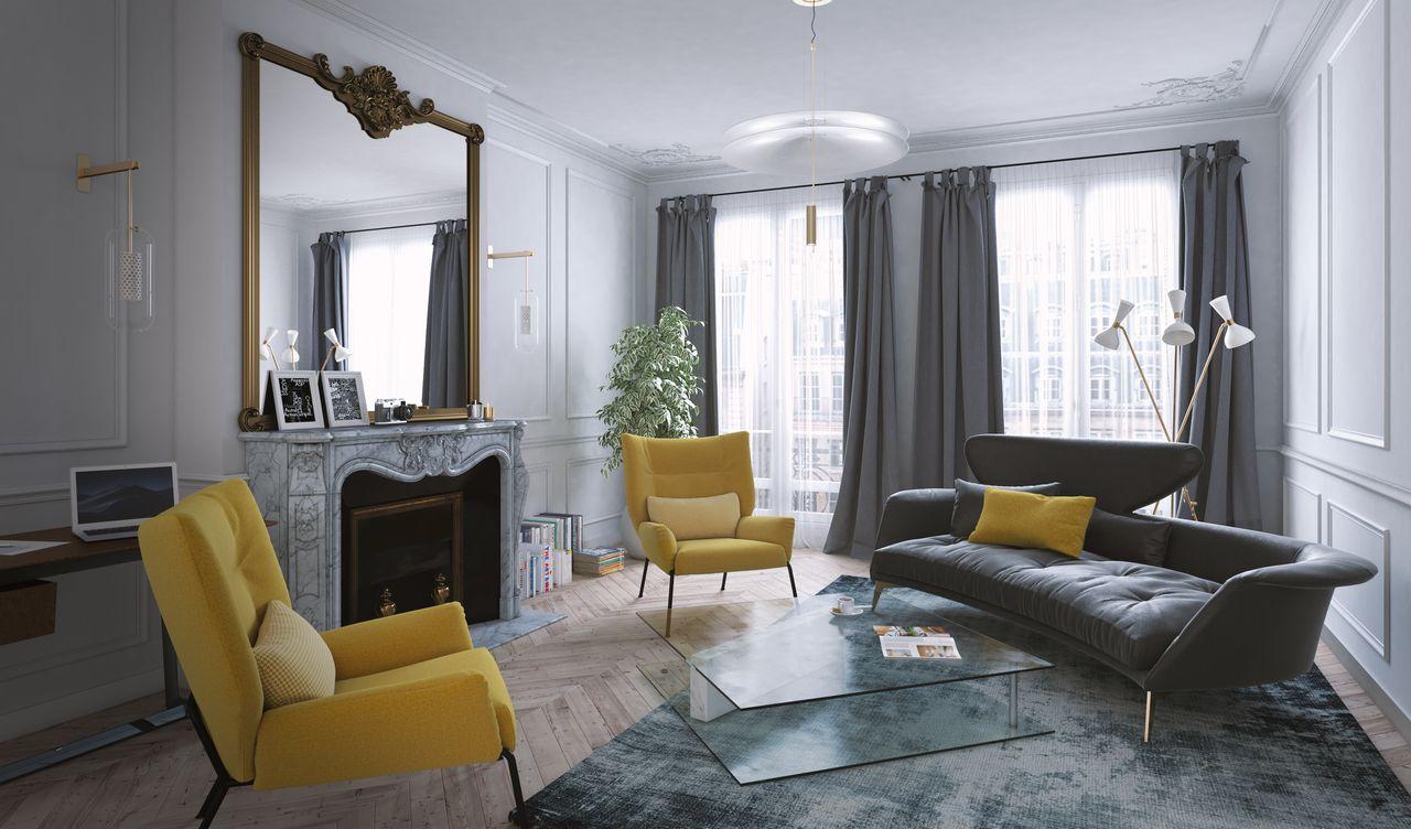 salon d'un appartement avec des chaises jaunes et un canapé