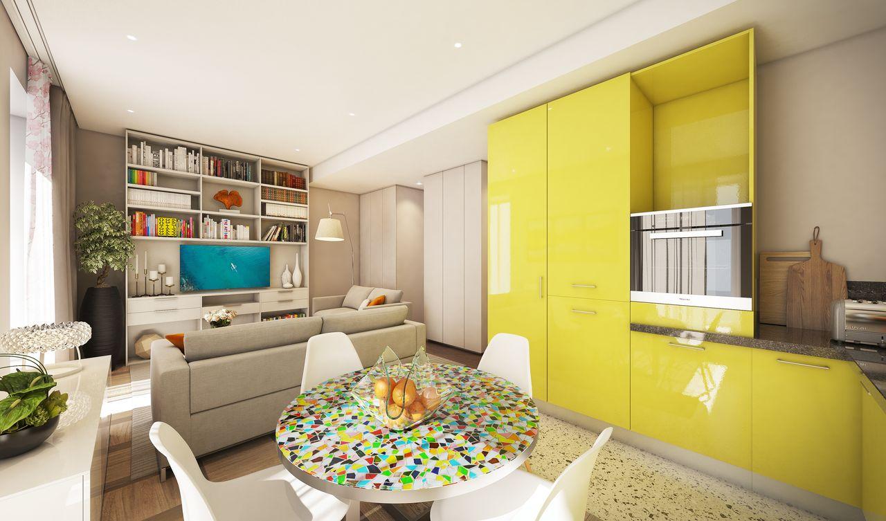 table de salle à manger avec un meuble jaune en arriére plan