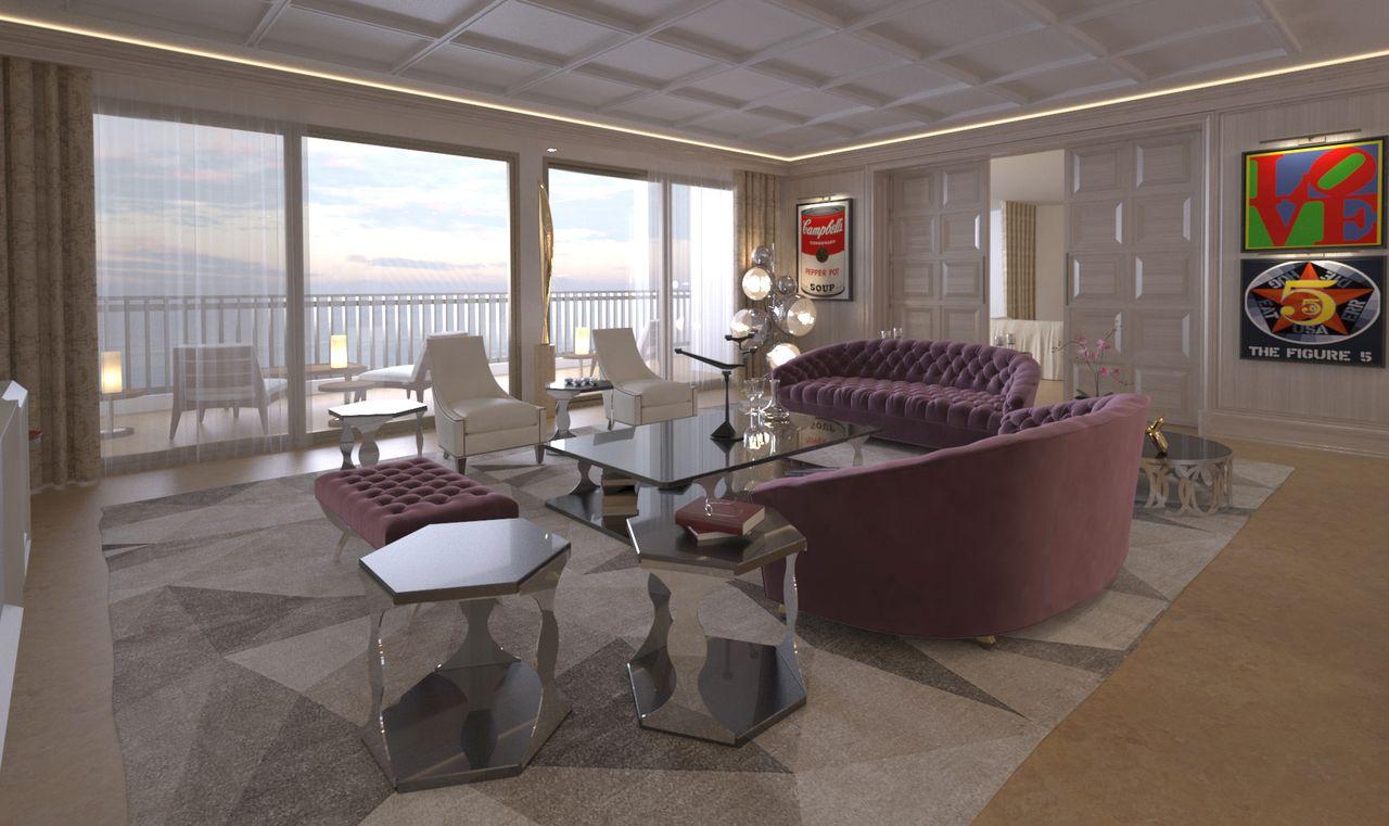 salon avec canapé violet et table basse et chaise avec fenêtre en verre