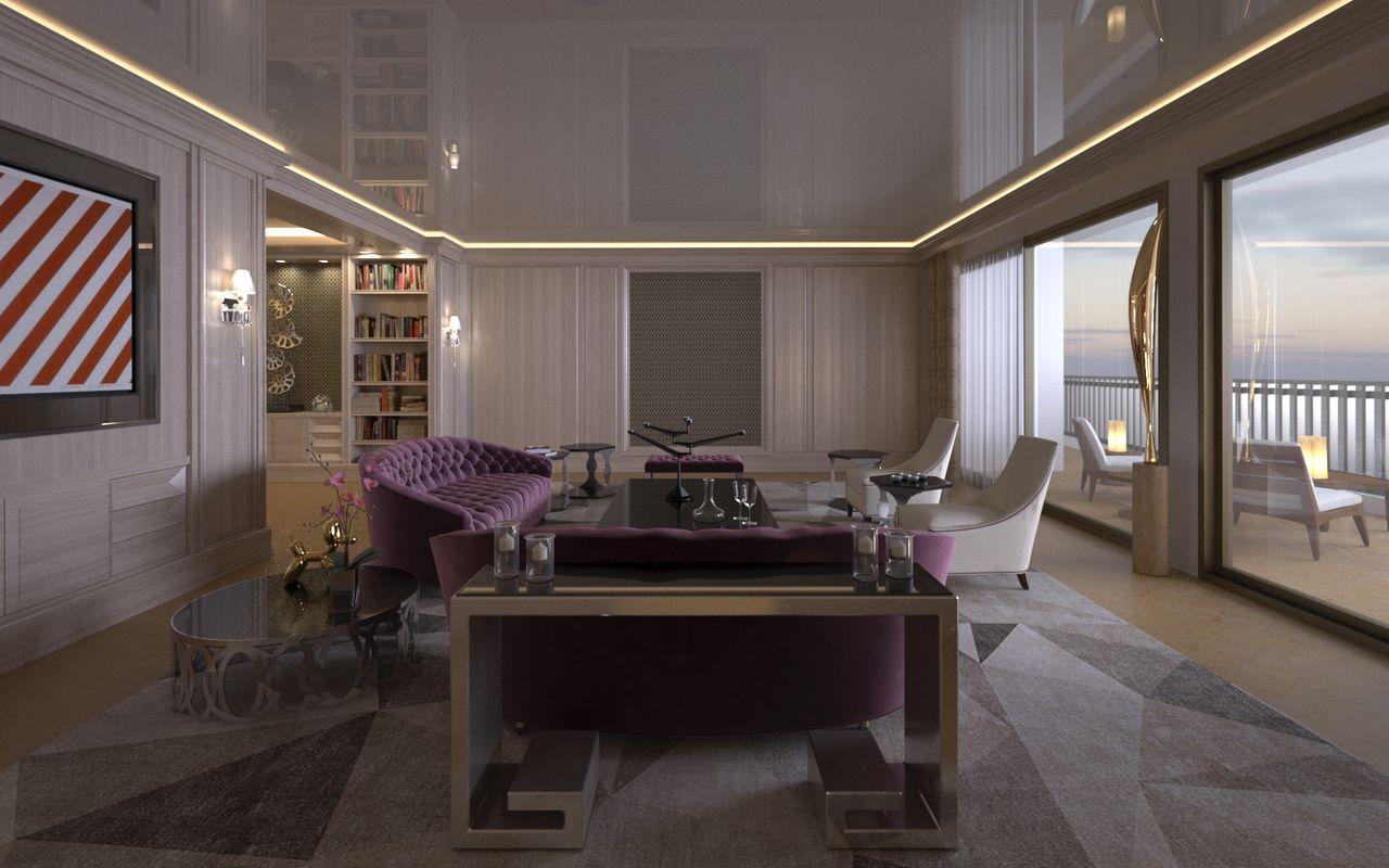 salon avec canapé violet