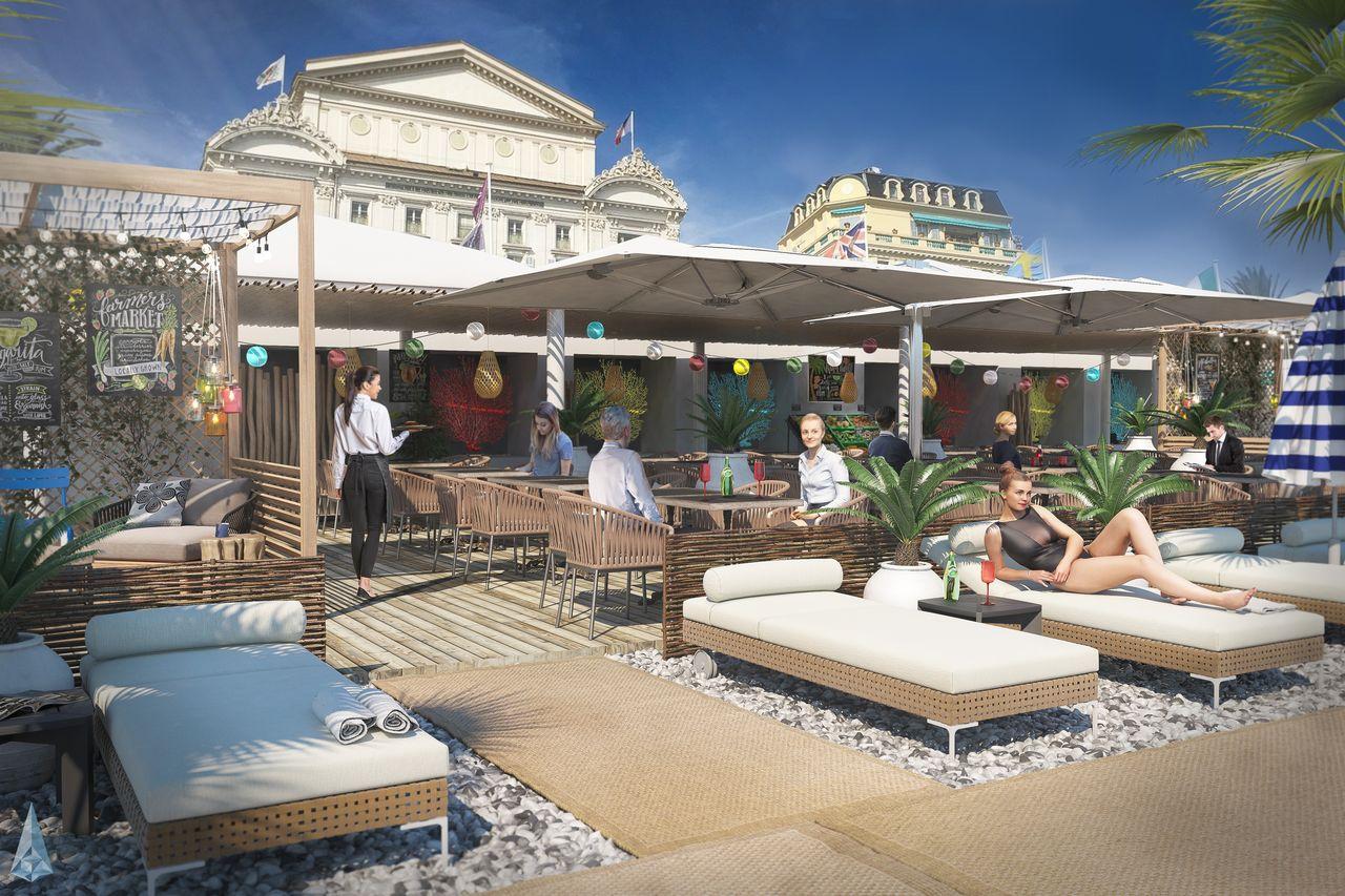 terrasse d'un restaurant sur la plage à nice