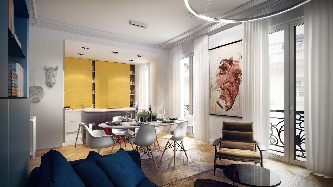 salle à manger avec un rideau jaune et un tableau d'un homme
