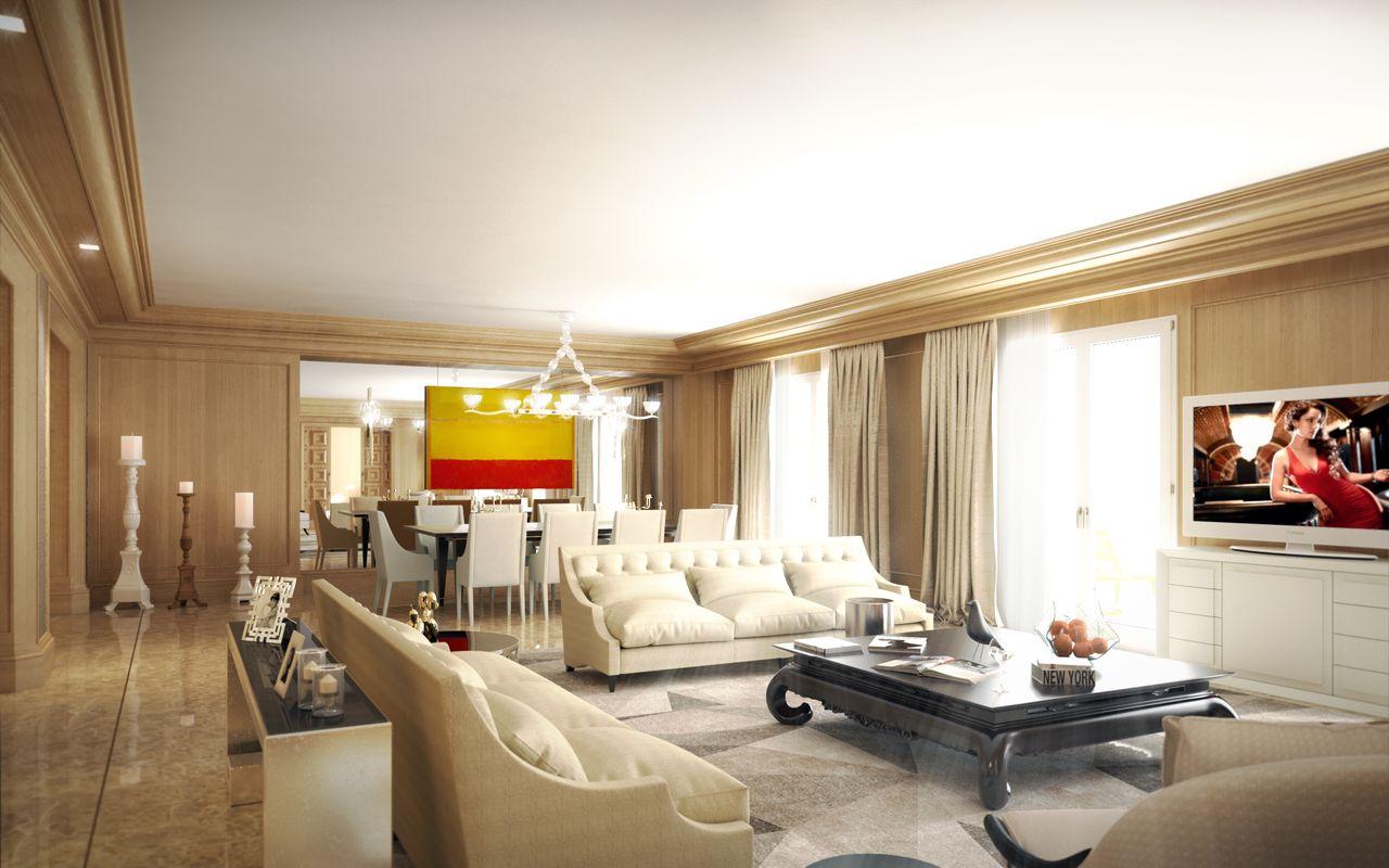 salon couleur beige marron avec un tableau rouge et jaune
