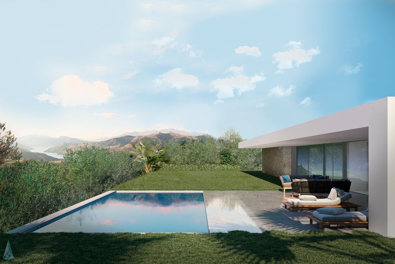 villa et terasse d'une villa face à la montagne et un lac