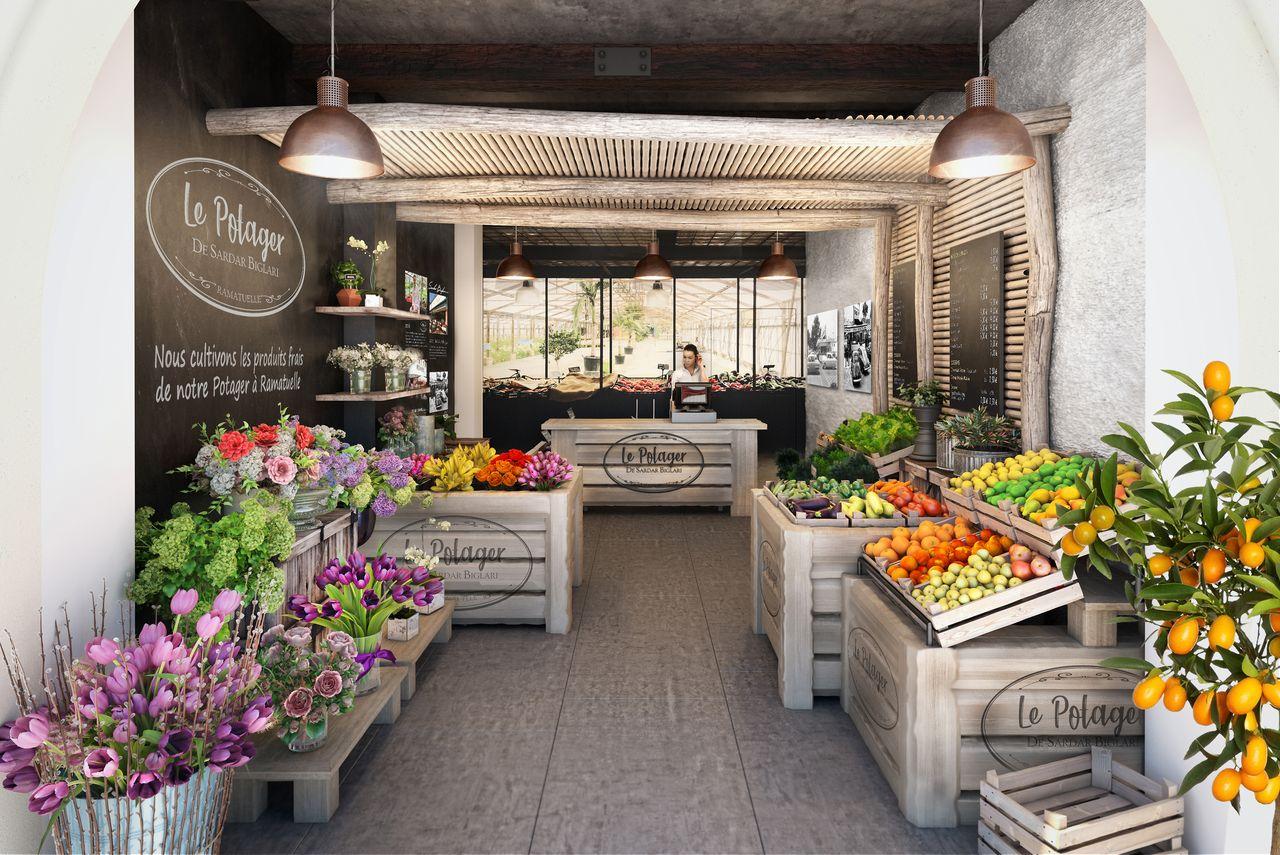 magasin potager avec des fleurs et des fruits et légumes