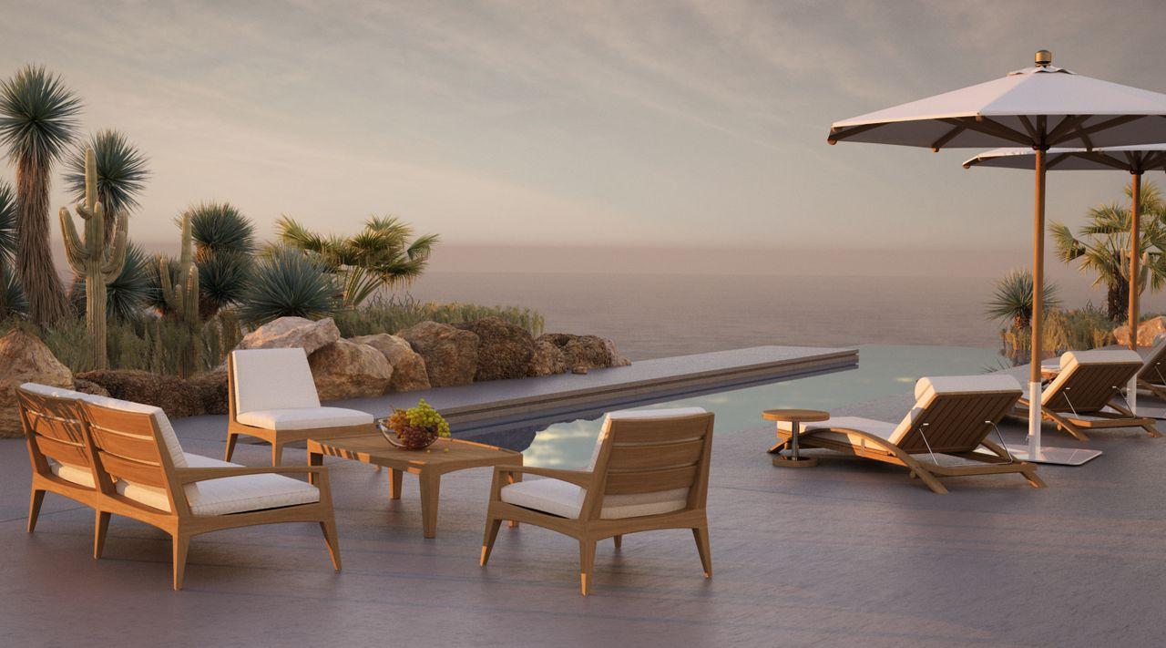 terrasse extérieur avec une piscine et des chaises et transat vue mer