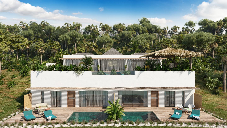 facade maison blanche terrasse piscine