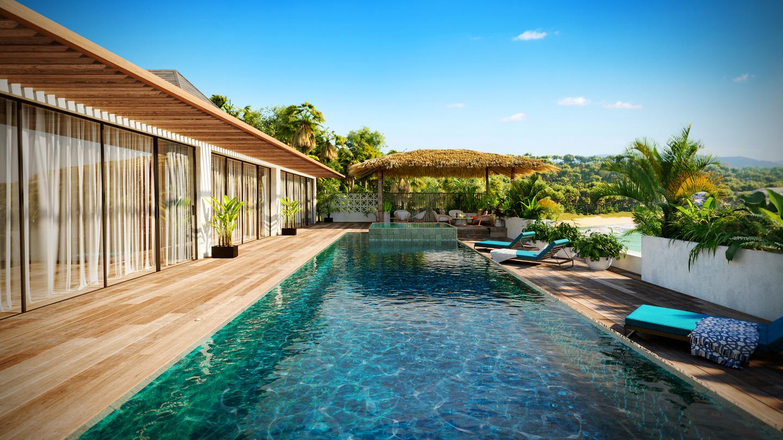 extérieur terrasse piscine ciel bleu